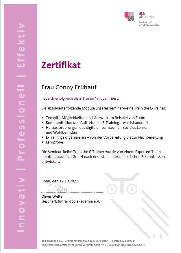 Online Fortbildung Zertifikat Conny Frühauf E-Trainerin